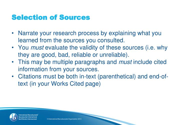 Selection of Sources