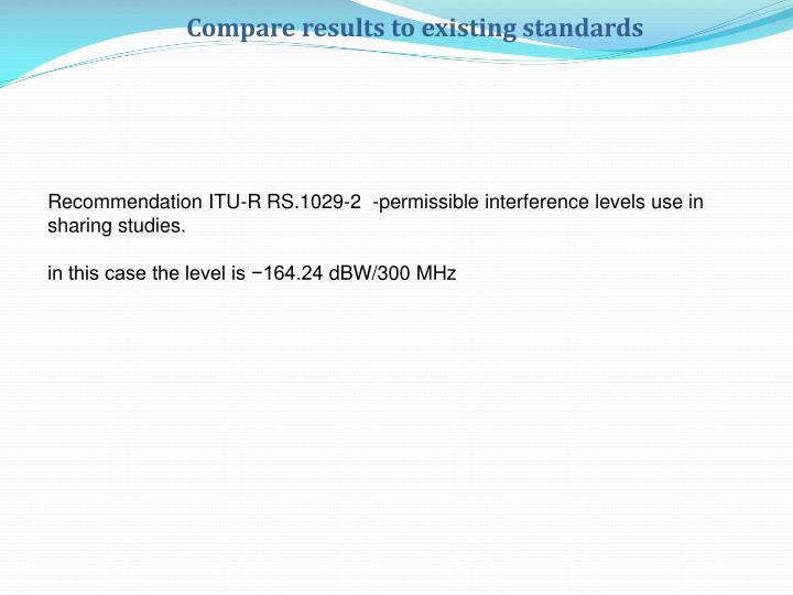Compare results to existing standards