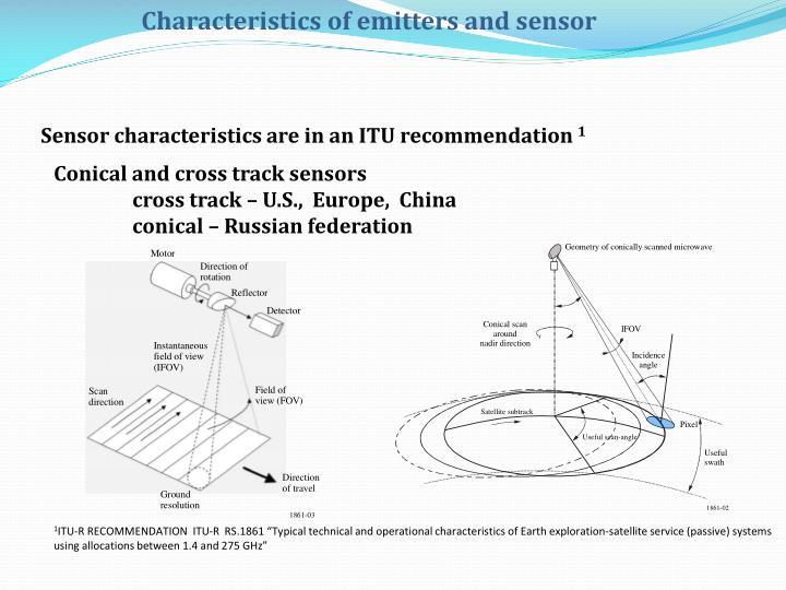 Characteristics of emitters and sensor