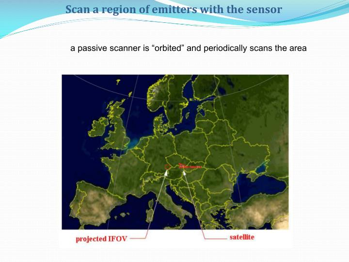Scan a region of emitters with the sensor