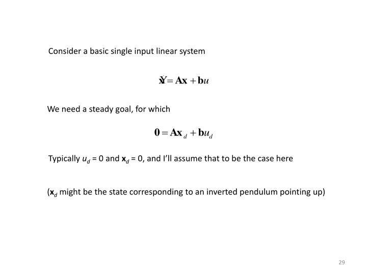 Consider a basic single input linear system