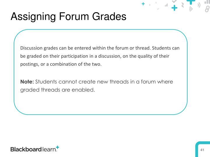 Assigning Forum Grades