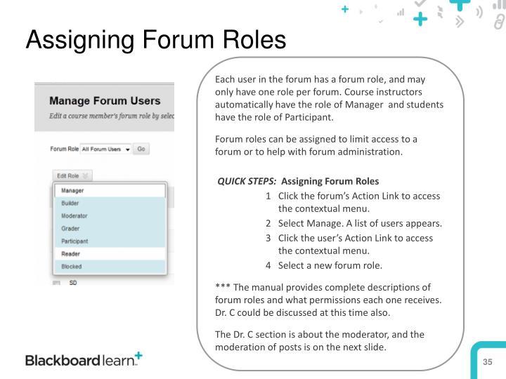 Assigning Forum Roles