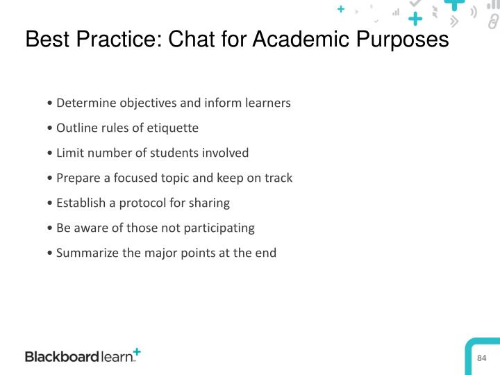 Best Practice: Chat for Academic Purposes