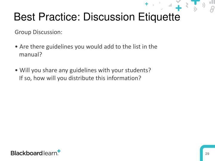Best Practice: Discussion Etiquette