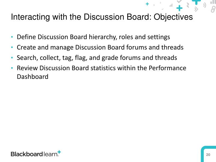 Interacting with the Discussion Board: Objectives