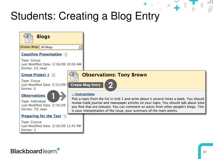 Students: Creating a Blog Entry