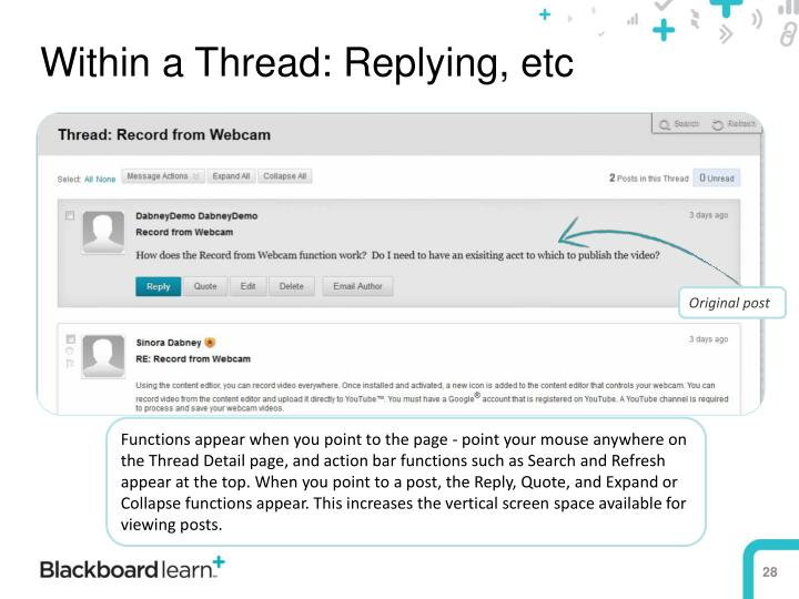 Within a Thread: Replying, etc