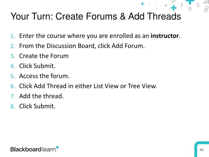 Your Turn: Create Forums & Add Threads