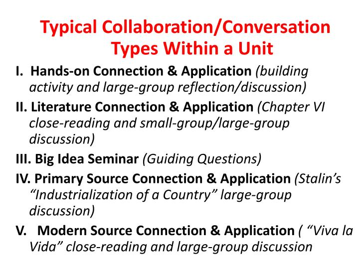 Typical Collaboration/Conversation Types Within a Unit