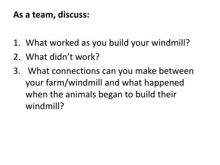 As a team, discuss:
