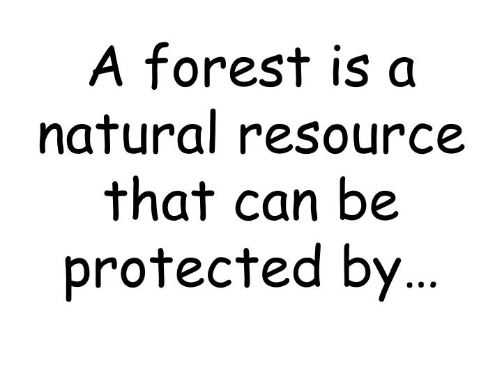 A forest is a natural resource that can be protected by…