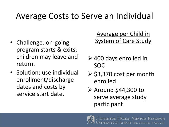 Average Costs to Serve an Individual