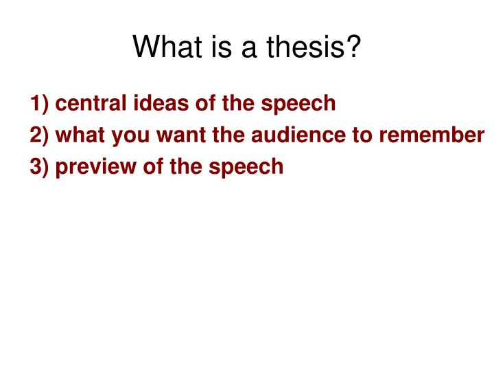 What is a thesis