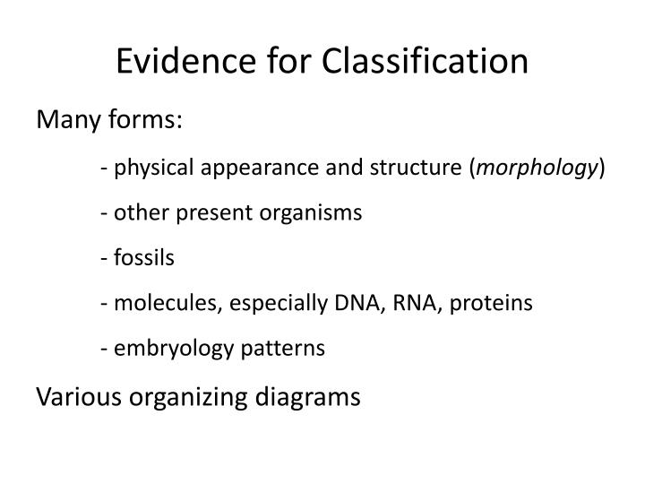 Evidence for Classification