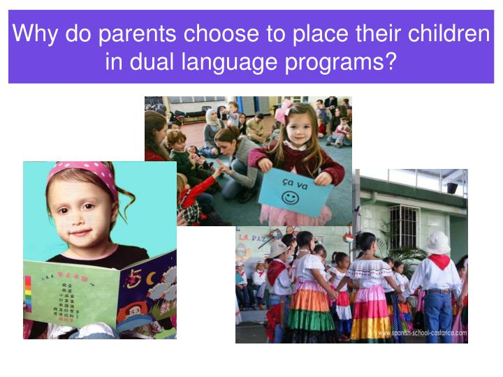 Why do parents choose to place their children in dual language programs?