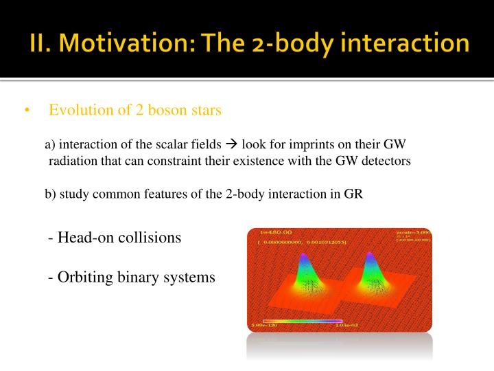 II. Motivation: The 2-body interaction