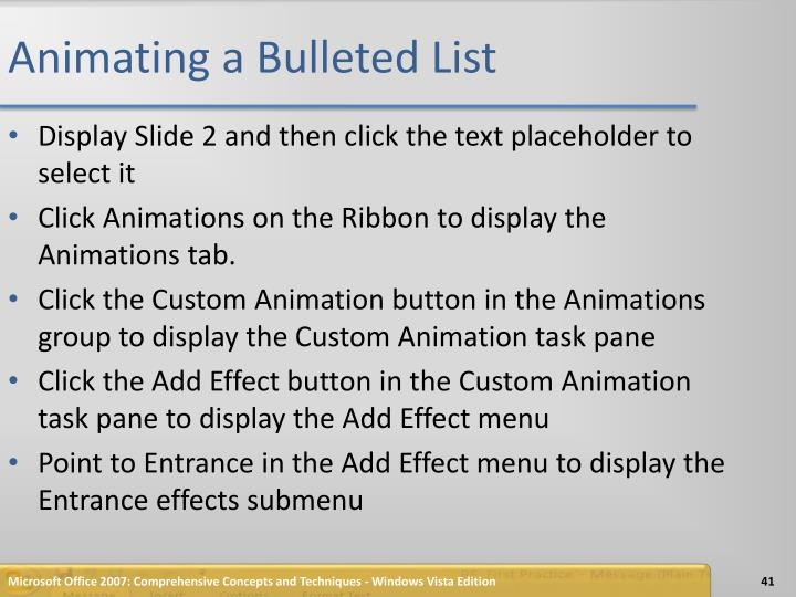 Animating a Bulleted List