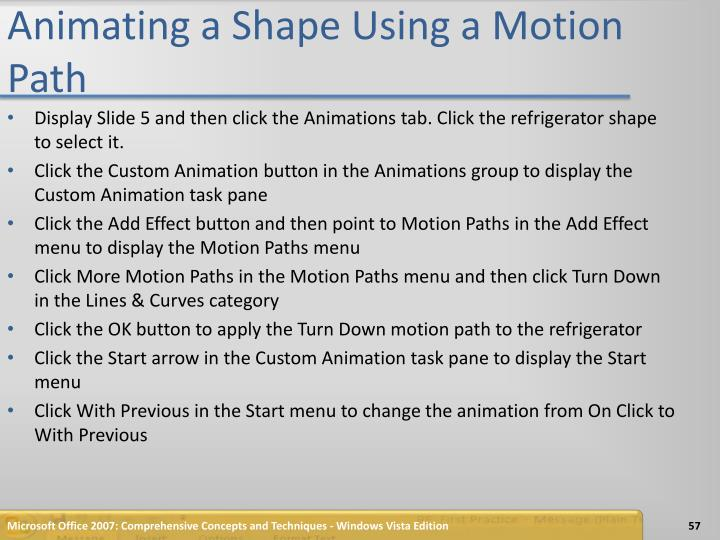 Animating a Shape Using a Motion Path