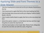 applying slide and font themes to a slide master1