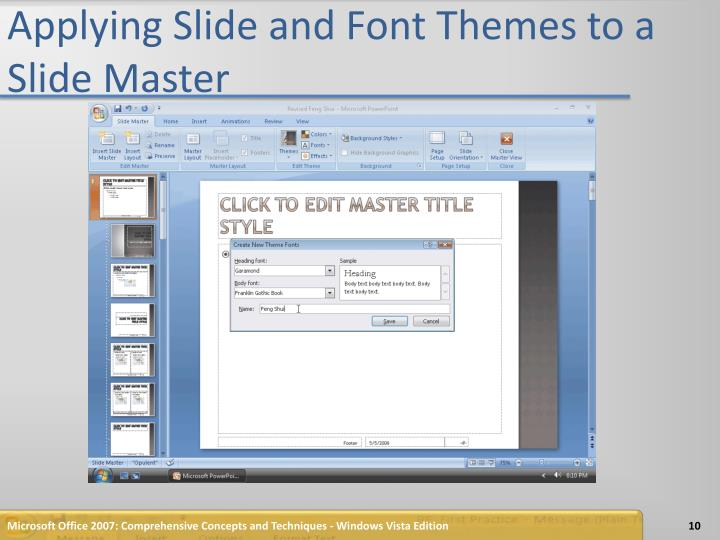 Applying Slide and Font Themes to a Slide Master