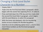 changing a first level bullet character to a number