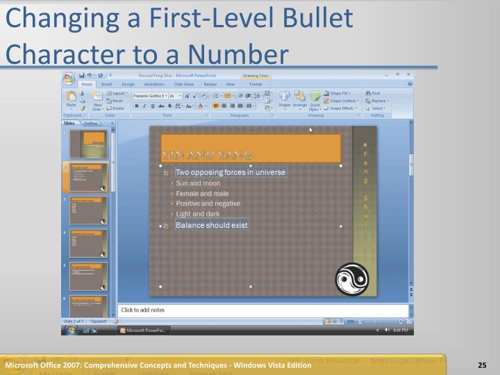Changing a First-Level Bullet Character to a Number