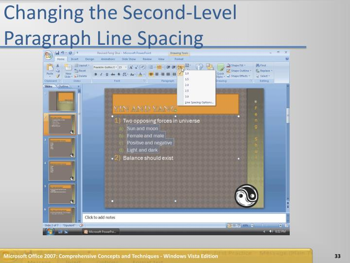 Changing the Second-Level Paragraph Line Spacing