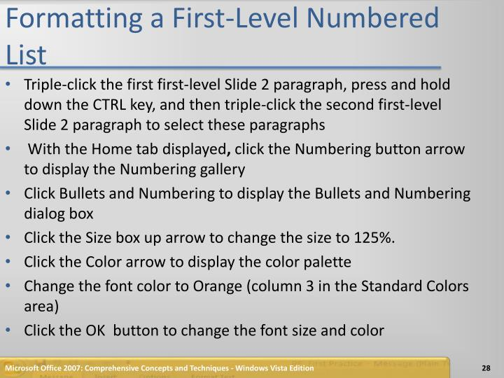 Formatting a First-Level Numbered List