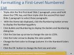 formatting a first level numbered list