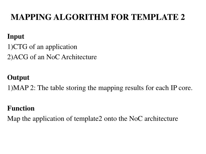 MAPPING ALGORITHM FOR TEMPLATE 2
