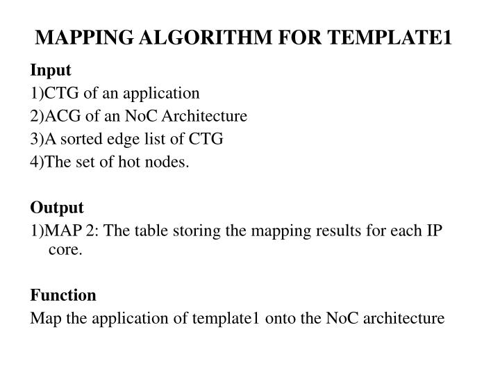 MAPPING ALGORITHM FOR TEMPLATE1