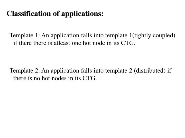 Classification of applications: