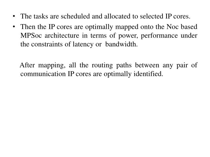 The tasks are scheduled and allocated to selected IP cores.