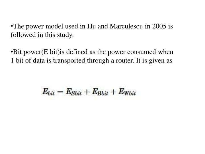The power model used in