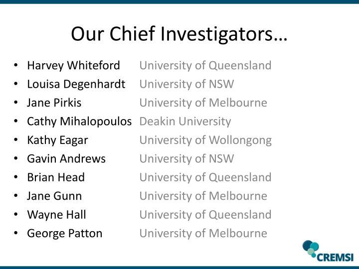 Our Chief Investigators…