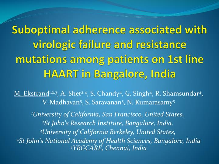 Suboptimal adherence associated with virologic failure and resistance mutations among patients on 1st line HAART in Bangalore, India