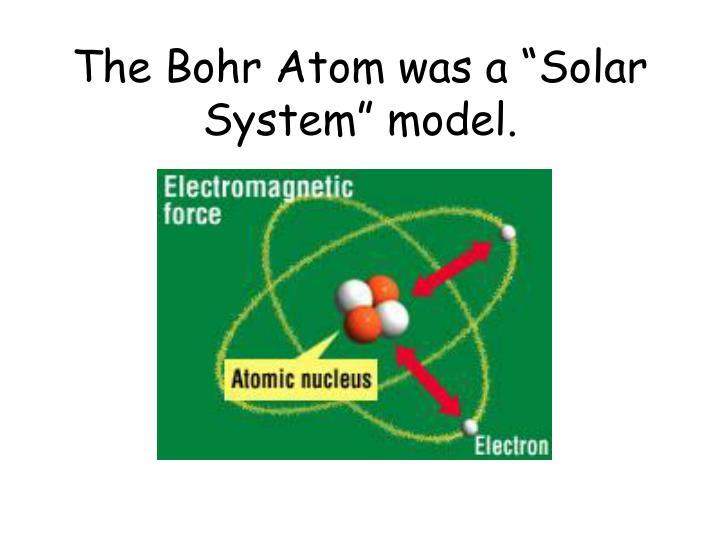 "The Bohr Atom was a ""Solar System"" model."