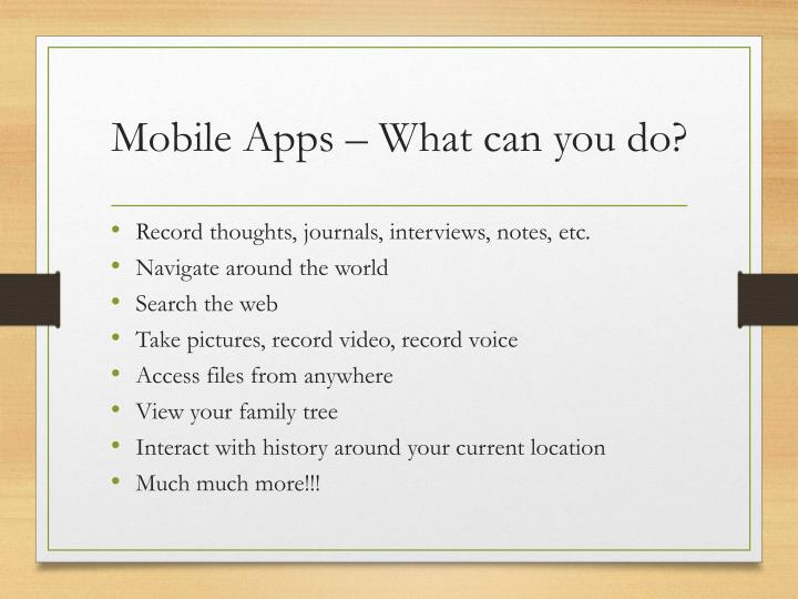 Mobile Apps – What can you do?
