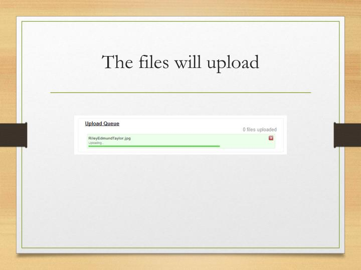 The files will upload