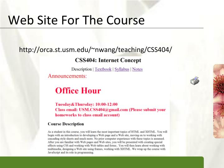 Web Site For The Course