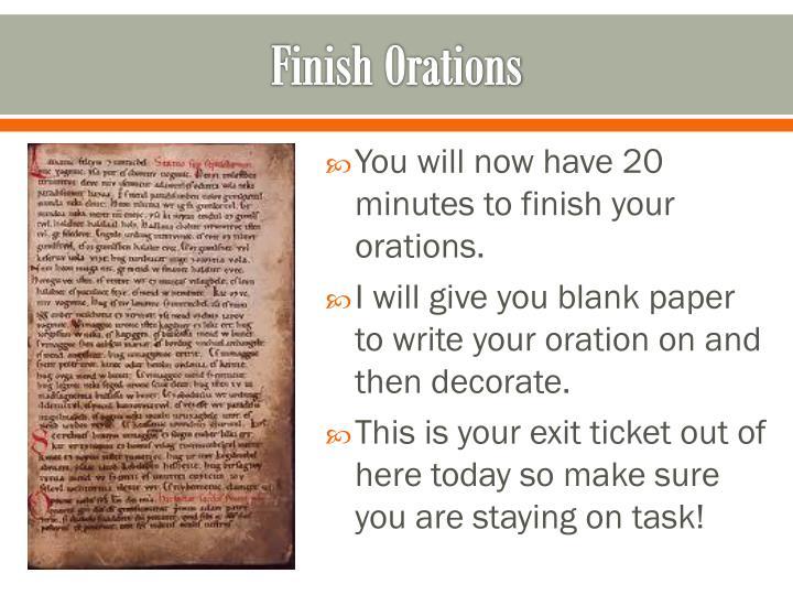 Finish Orations