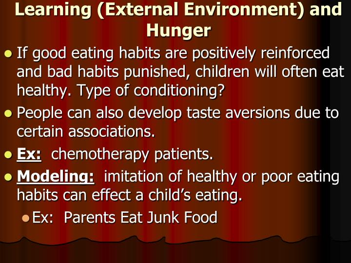 Learning (External Environment) and Hunger
