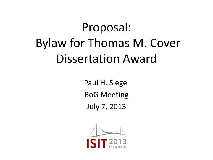 Proposal bylaw for thomas m cover dissertation award