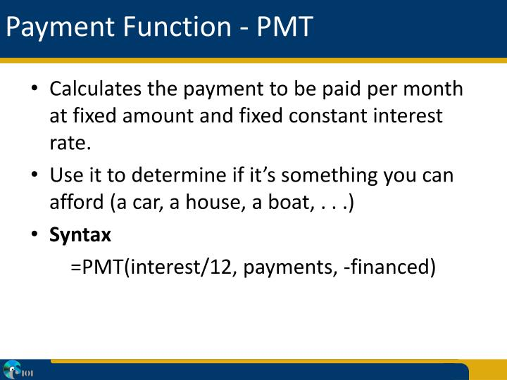 Payment Function - PMT