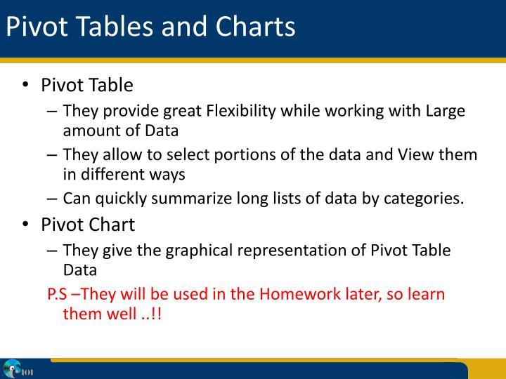 Pivot tables and charts