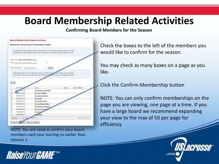 Board Membership Related Activities