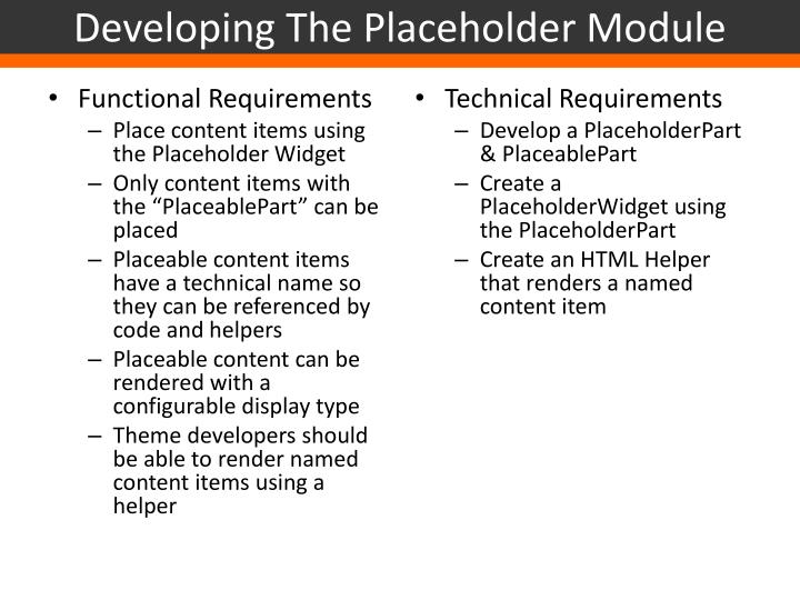 Developing The Placeholder Module