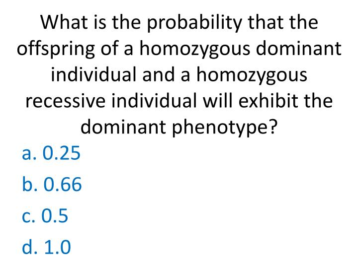 What is the probability that the offspring of a homozygous dominant individual and a homozygous recessive individual will exhibit the dominant phenotype