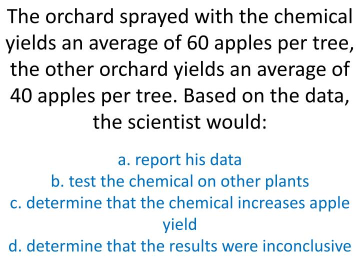 The orchard sprayed with the chemical